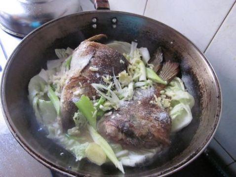 铁锅白菜肉皮炖鲤鱼的做法图解