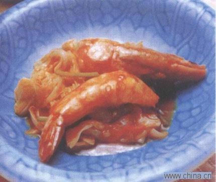 白菜炒大虾的做法