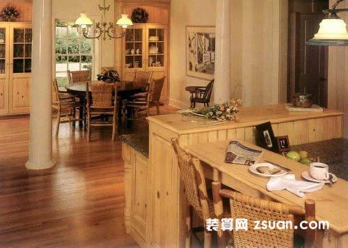欧式厨房实景图暖色橱柜