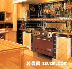 古典厨房装修图片原木橱柜