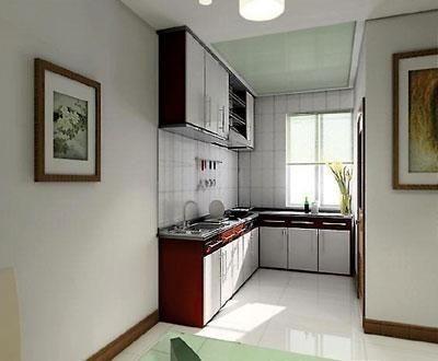 这个厨房的面积其实很小,但开放式的设计和玻璃吊顶的运用使它看图片
