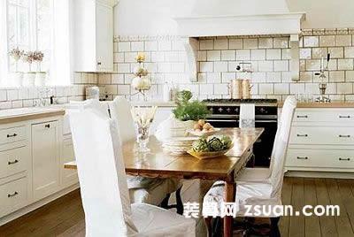 温馨欧式厨房实景图暖色餐台