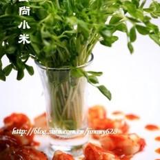 茄汁豆苗虾球的做法