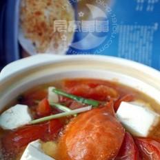 梭子蟹番茄豆腐煲的做法