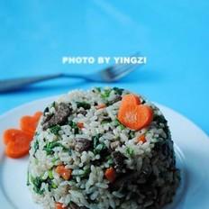 菠菜豬肝炒飯的做法