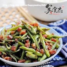 腊肠丁炒四季豆的做法