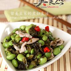 咸菜肉丝炒毛豆