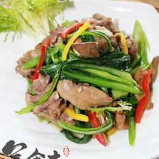菜心炒鸡肝肉的做法