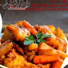 板栗土豆烧鸡腿的做法