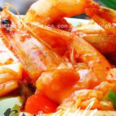 韩味泡菜炒虾的做法