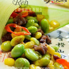 毛豆玉米炒牛肉粒