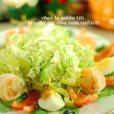 生菜虾沙拉佐吞拿鱼酱的做法