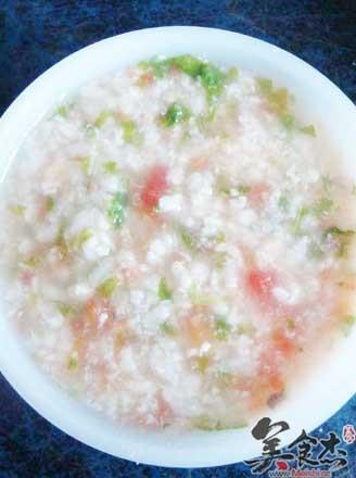 鱼泥青菜番茄粥的做法