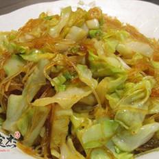 圆白菜炒粉丝的做法