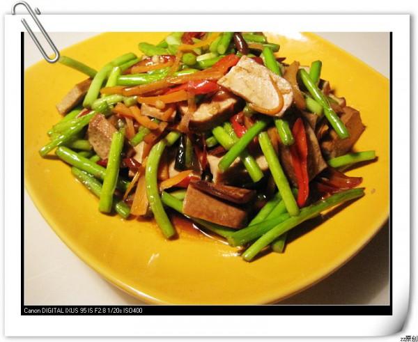 蒜苔家常的视频_香干香干做法的做法【图】蒜洛手蒜苔图片