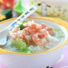 北极虾生菜咸味粥的做法