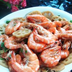 莲藕炒虾的做法