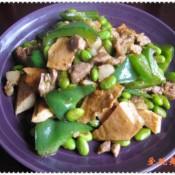 肉丁毛豆炒青椒