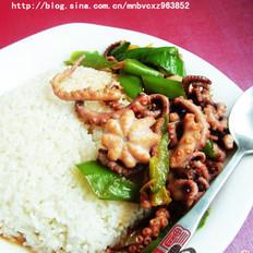 青椒八带盖饭的做法