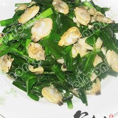 蛤蜊炒韭菜的做法