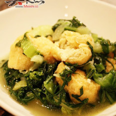 油豆腐炒小白菜的做法