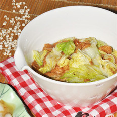 白菜炒油面筋+醋溜白菜