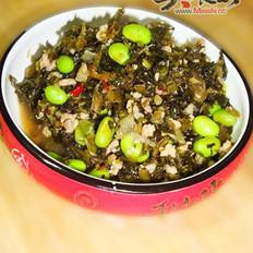 毛豆炒雪菜的做法