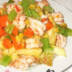 鮮蝦雜果蔬的做法