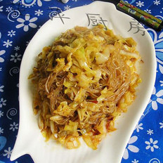 蝦油炒粉絲卷心菜的做法