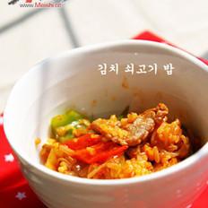 韩式泡菜豆芽牛肉焖饭的做法