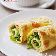 火腿生菜蛋饼卷