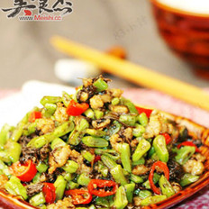 榄菜肉末四季豆的做法
