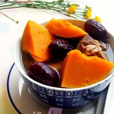 南瓜红枣排骨汤的做法