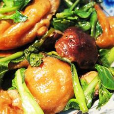 小油菜烩香菇面筋的做法