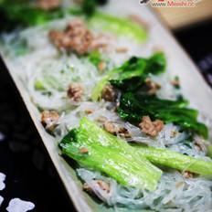 肉糜生菜炒粉丝的做法
