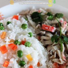 五彩缤纷蟹肉饭的做法