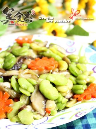 清鲜蚕豆炒时蔬的做法