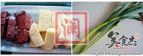 青蒜烧两样豆腐的做法