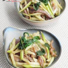 塔香茭白肉丝的做法