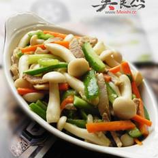 咸肉炒白玉菇