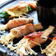 烤蘑菇肉卷的做法