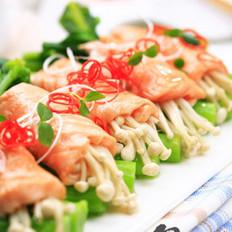 三文魚金針菇卷的做法