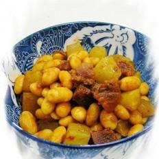 腊肠青笋炒黄豆的做法