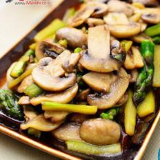 洋菇炒芦笋