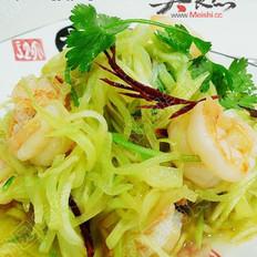 蒜油虾仁炝莴苣的做法