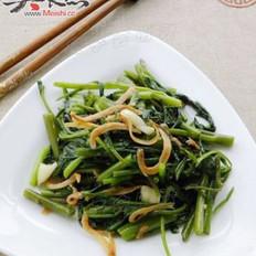 丁香鱼炒空心菜的做法