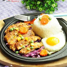 鐵板雞肉飯的做法