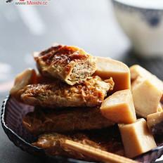 杏鲍菇烧豆皮虾肉卷的做法