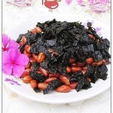 花生米炒海苔的做法
