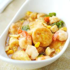 蚝油虾仁玉子豆腐的做法